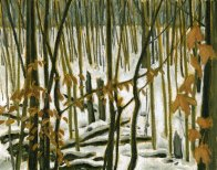 'Winter Ravine, Collingwood - Study' (2010) by Jamie Kapitain. Oil on canvas board, 8x10 inches.