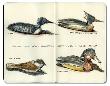 'Salmon Lake Decoy Collection' by Jamie Kapitain. Ink and watercolor.