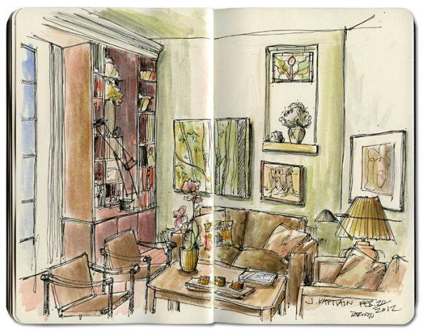 'Toronto Living Room' sketch by Jamie Kapitain.
