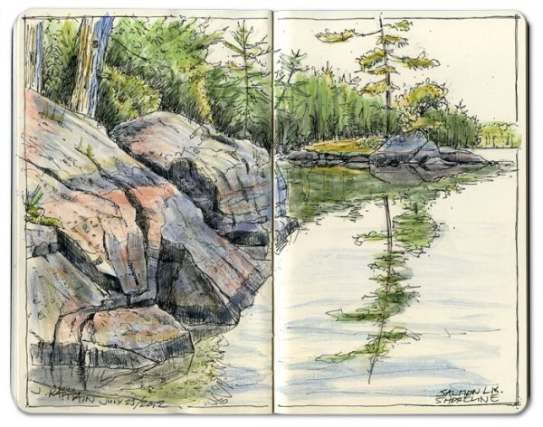 'Salmon Lake Shoreline' sketch by Jamie Kapitain