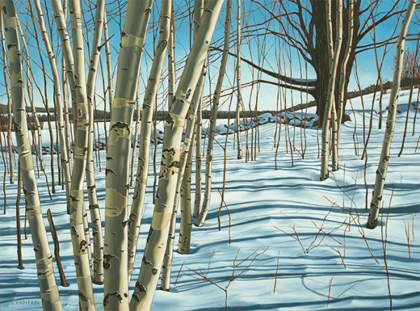 'Winter Birches, Mono Cliffs No.3′ (2014) by Jamie Kapitain.