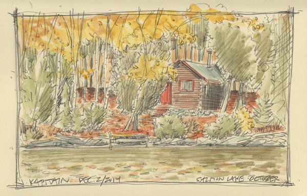 'Salmon Lake Cabin, October' (2014) by Jamie Kapitain