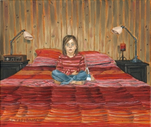 'Cottage Kid With Stripes and Purse′ (2015) by Jamie Kapitain.